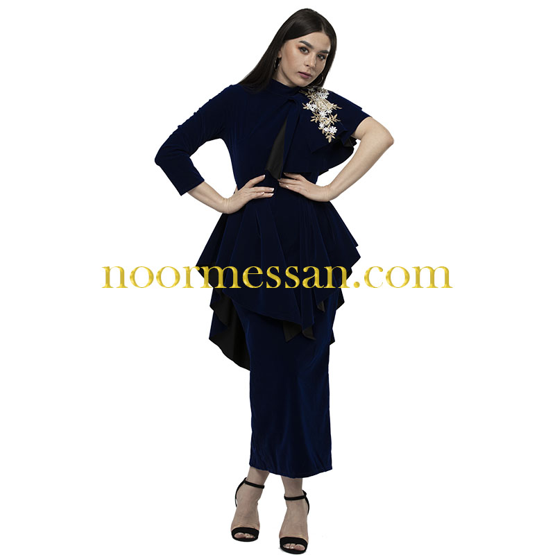 فستان سهرة طويل شامواه للمناسبات كحلي ازرق